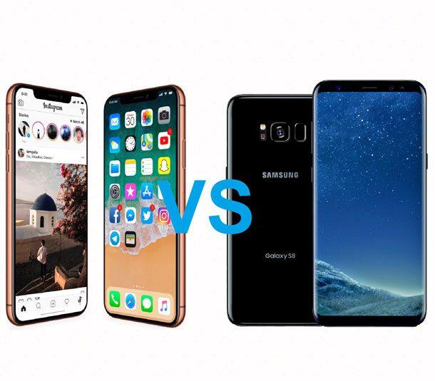 Сравнение Iphone X и samsung s8