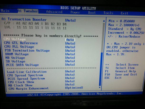 Ai Tweaker bios setup utility