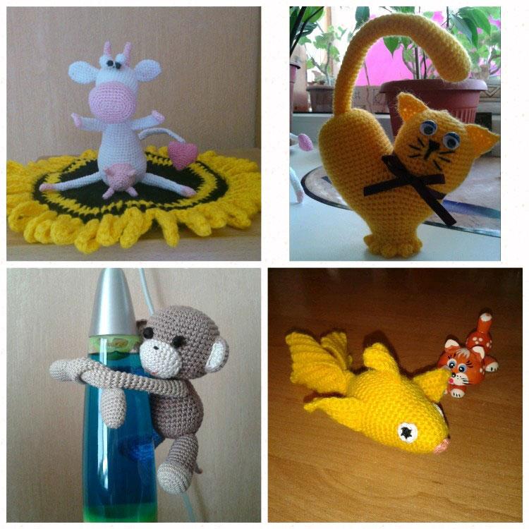 4 игрушки: корова, котик, обезьяна и рыбка