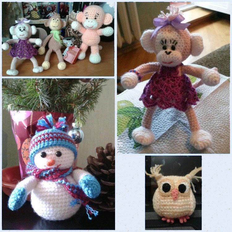 ещё игрушки, среди которых сова, обезьяна и снеговик