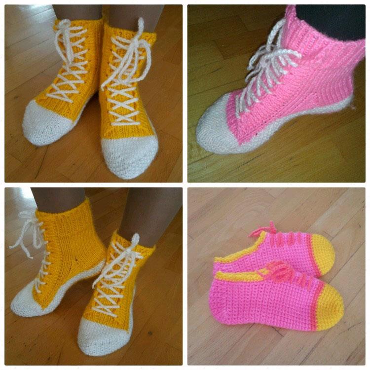 надетые ботинки