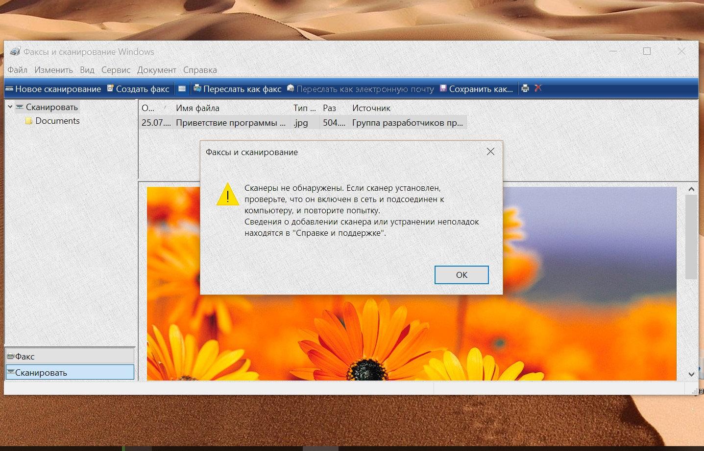 программа встроенная для сканирования в windows 10