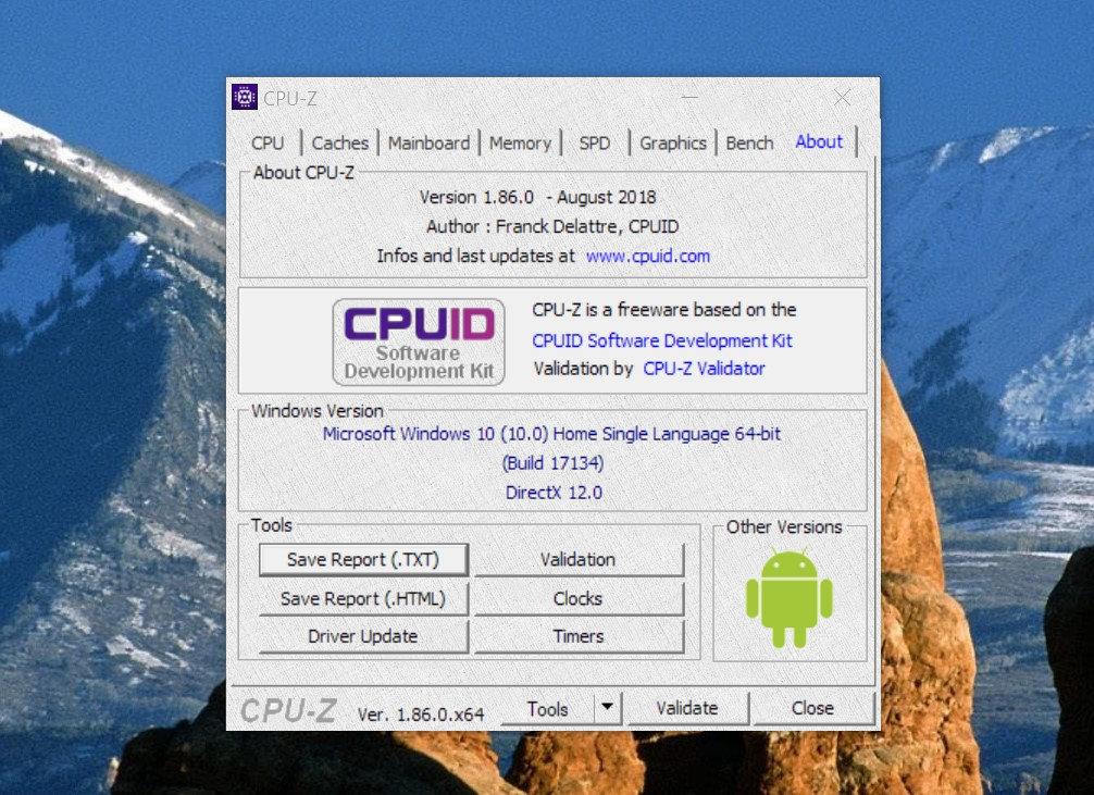 CPU-Z август 2018