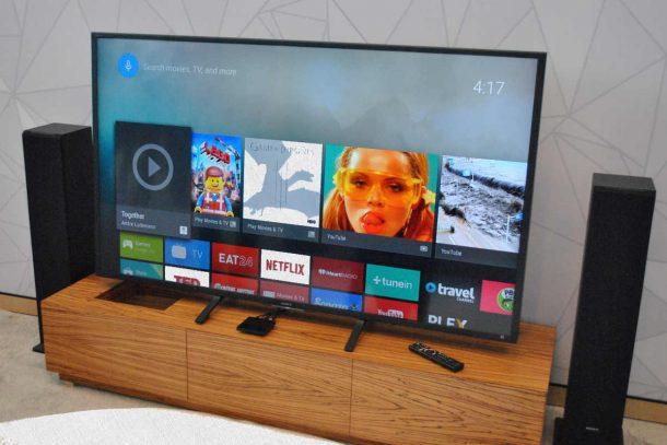 телевизор сони на андроиде и акустика по бокам