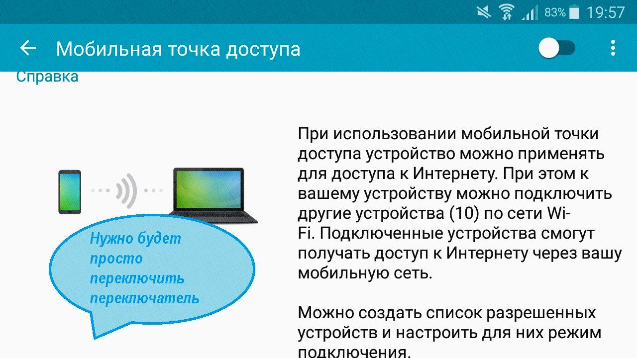 Мобильная точка доступа позволяет раздавать интернет