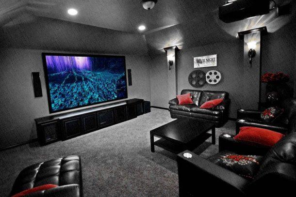 телевизор в большой гостиной для просмотра, как в кино