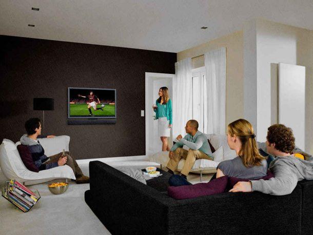 телевизор в гостиной смотрят все, даже друзья, ведь футбол