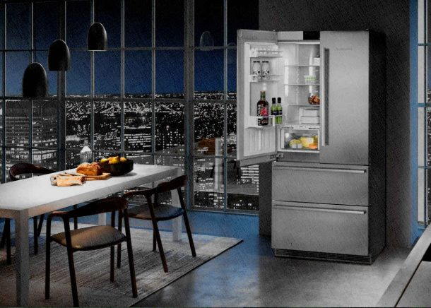 холодильник в ночи открытый