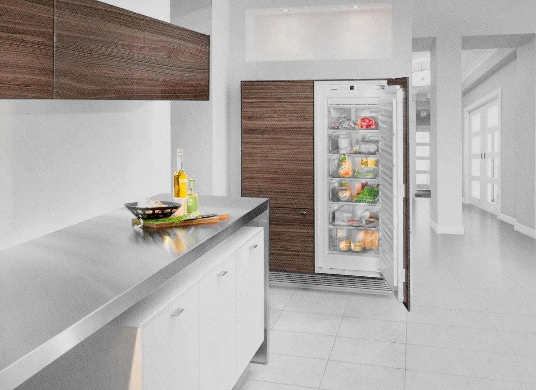интересный дизайн расположения холодильника на кухне