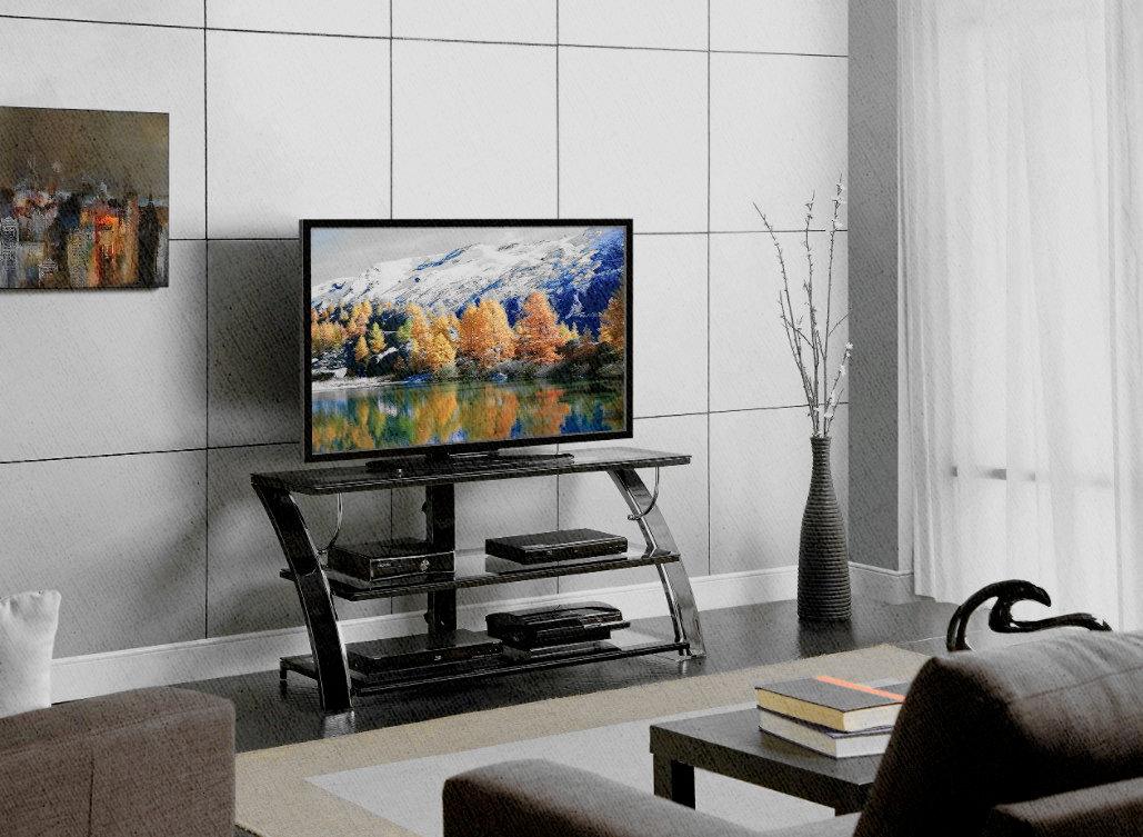 китайский телевизор стоит на стойке под телевизор с ДВД, Блю рей и Сони плейстейшион