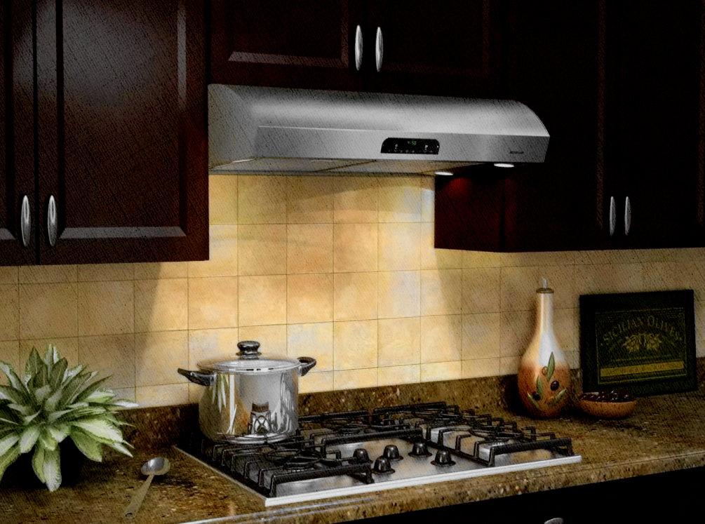 встраивая вытяжка на кухне занимает меньше места и выглядит элегантно