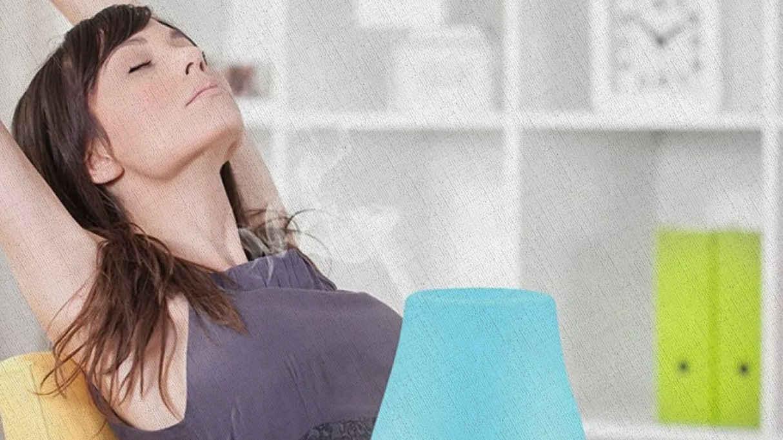 воздух увлажнен и очищен с помощью увлажнителя в комнате где сидит девушка